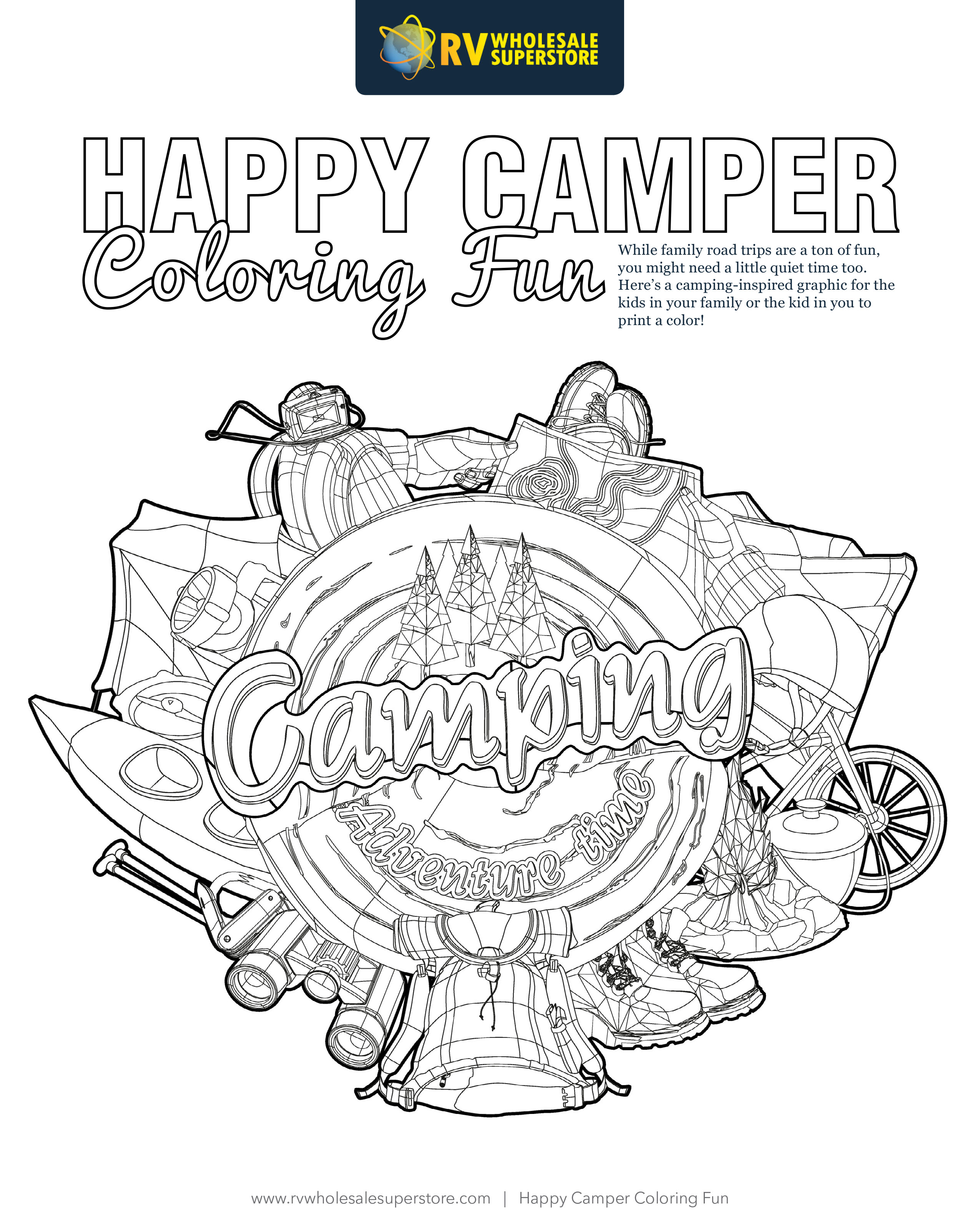 Happy Camper Coloring Sheet ∣ RV Wholesale Superstore